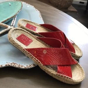 Tory Burch Shoes - Tory Burch Red Patent Bima Espadrille slides 7